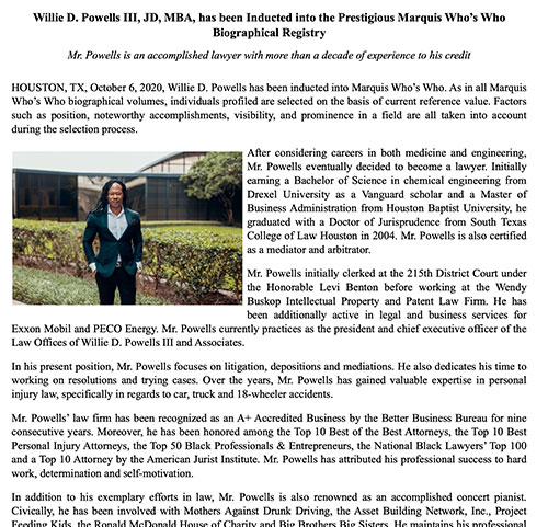 Willie D. Powells III, JD, MBA, has been Inducted into the Prestigious Marquis Who's Who Biographical Registry