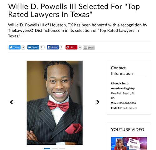 Willie D. Powells III Selected For