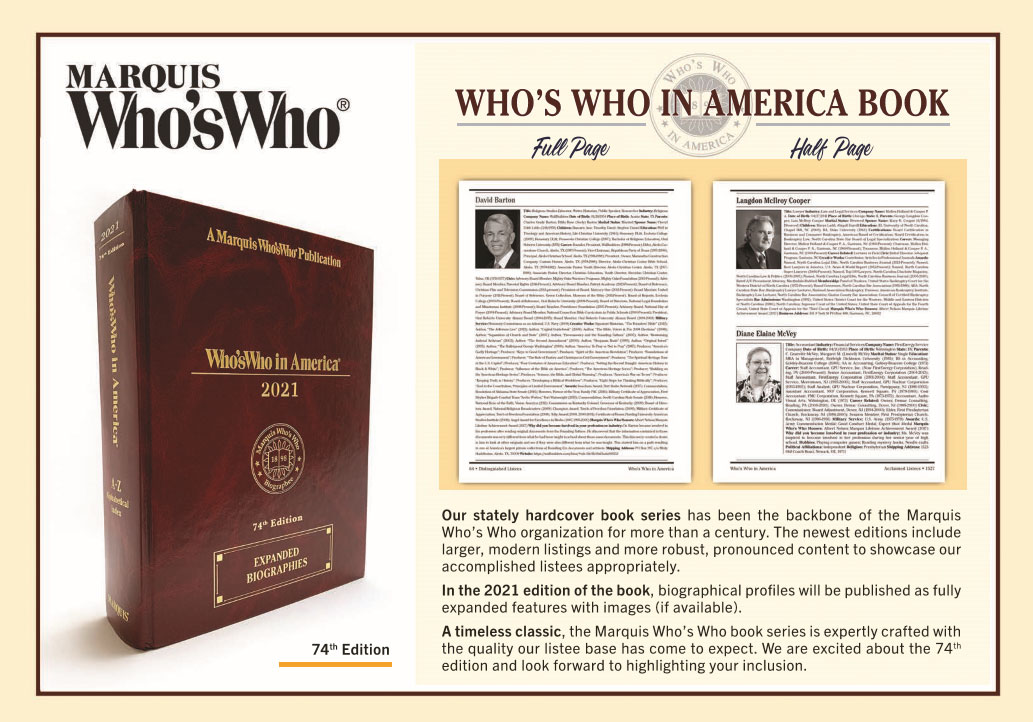 Willie Powells featured in the 2021 edition of Who's Who in America